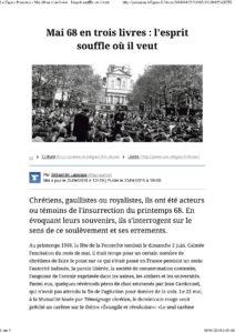 «Mai 68 raconté par des catholiques» par  Sébastien Lapaque dans le Figaro littéraire