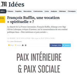 Le Monde a sélectionné «Paix intérieure et paix sociale», sous la plume de Jean Birnbaum (20/07/2018)
