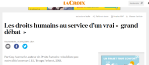 Tribune de Guy Aurenche dans La Croix (21 /01 /2019)