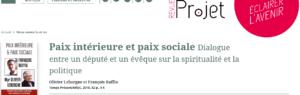 «Paix intérieure et paix sociale» dans la revue Projet